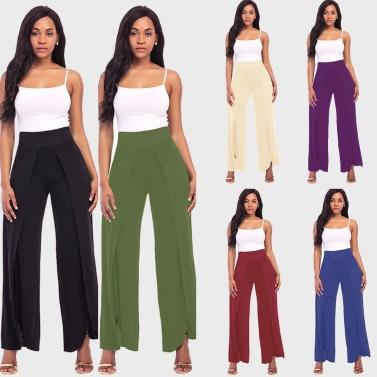 Sexy Women High Split Flowy Wide Leg Pants Mid Waist Solid Yoga Trousers Summer Beach Long Loose Harem Pants