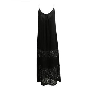 Frauen Sommerkleid Solid Lace Spleiß Spaghetti Strap Loose Long Beach Maxi Plus Größe bodenlangen Kleid