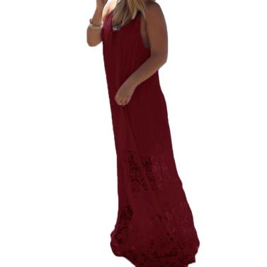 Women Summer Dress Solid Lace Splice Spaghetti Strap Loose Long Beach Maxi Plus Size Floor-length Dress