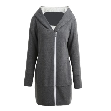 Buy Autumn Winter Women Hoodies Coat Warm Fleece Zip Outerwear Hooded Sweatshirts Casual Long Jacket Plus Size