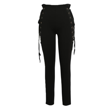 Sexy Women Side Lace Up Pants High Waist Criss Cross Skinny Tight Pencil Pants Bandage Trousers Coffee/Black