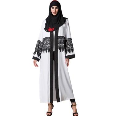 Lässige Spitze Robe Frauen Musulmane Türkische Abaya Muslim Kleid Strickjacke Robe Langarm Weiß