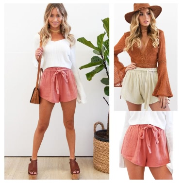 New Fashion Women Elastic High Waist Shorts Bowknot Sash Shorts Streetwear Pink/Yellow