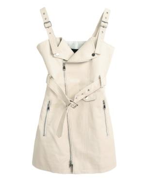 Sexy Women Mini PU Leather Dress Strappy Backless Sleeveless Belt Zipper Elegant Club Party Dress