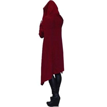 Mode Frauen Hoodies Kleid Kapuzenjacke Drawstring Asymmetrische Langarm Pullover Casual Sweatshirt