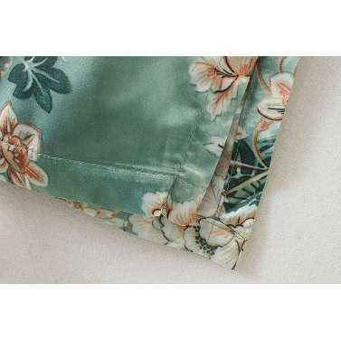 Vintage Women Retro Floral Print Long Kimono Coat Jacket Long Sleeve Cardigan Maxi Shawl Tops With Belt Green