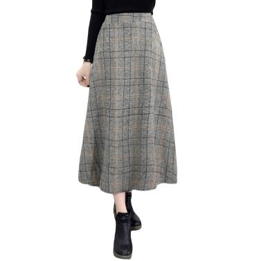Winter-Frauen-Plaid-Rock-Wolle-hohe elastische Taille elegante A-Linie Weinlese-warme Midi-Röcke