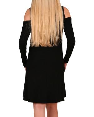 Frauen-langes Hülsen-beiläufiges loses Schwingen-T-Shirt Kleid-weg vom Schulter-Tuniktaschen-Minikleid