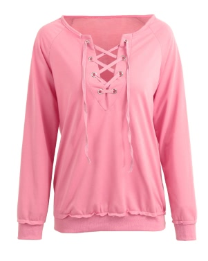 Women Bandage Lace Up Long Sleeve Blouse T-shirt Solid Color Casual Loose Pullovers Tops Pink