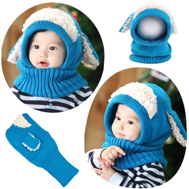 Cute Winter Kintted Hat Ear Puppy Caps Unisex Toddlers Babies Scarf Coif Hood One-Piece Warm Children Gifts