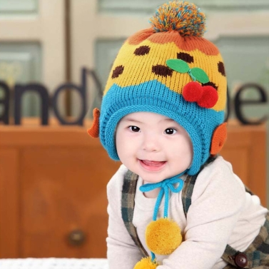 Baby Kinder gestrickt Hat süße Kirsche Bowknot Fleece Ohrenklappe Hut Kinder Pompom Cap