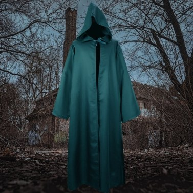 Men Women Halloween Costume Cloak Solid Color Hooded Long Sleeve Tunic Robe Cardigan Cape
