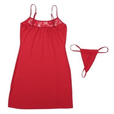 Sexy Women Lingerie Set Babydoll Mini Dress Lace Backless Chemise Sleepwear G-string Night Dress Underwear