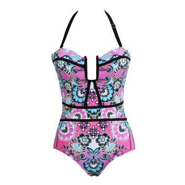 Frauen Badeanzug-Blumendruck Swimwear Ausschnitt Kontrast Halter Push Up Badeanzug Bademode Monokini