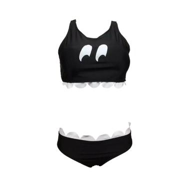 Frauen-Bikini-Set Kontrast Wellenschliff Racerback Low Waist Sporty Ungepolsterte Drahtlose Zwei Badeanzug Bademode