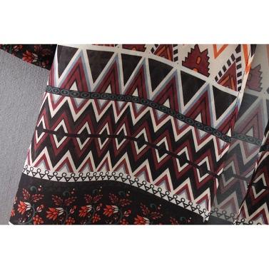 Neue Frauen-Kimono Cardigan Strand-Vertuschung-Blumen Geometric Print Chiffon Boho lang lose beiläufige Bluse Top Burgund