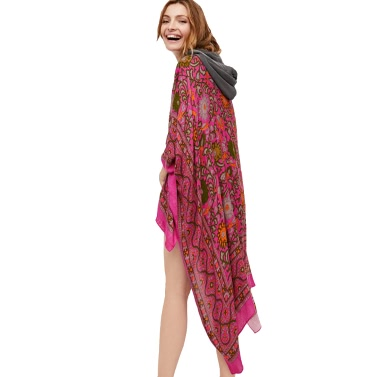 Vintage Frauen Chiffon Kimono Cardigan Ethnische Boho Print Lose lange Oberbekleidung Beachwear Bikini Cover Up Rose / Blau / Kaffee