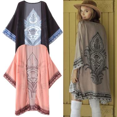 Women Summer Long Chiffon Cardigan Kimono Positioning Printing Beach Cover Up Bikini Outwear Khaki/Black/Pink