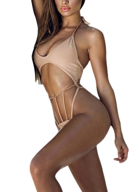 New Sexy Women Bikini Set Halter Wire Free Padded Cup Low Waist Hollow Out Thong Biquini Swimwear Swimsuit