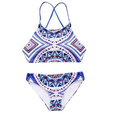 Sexy Women Halter Bikini Set Geometric Print Tie Back Low Waist Thong Biquini Swimwear Swimsuit Blue