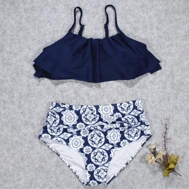 Women Bikini Set Ruffles High Waist Ruched Padded Wireless Two Piece Swimsuit Swimwear