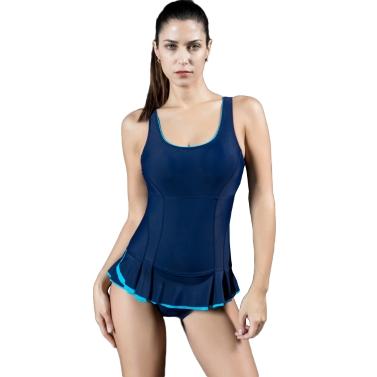 Mode Frauen Badeanzug Sport Bademode Minirock Rüschensaum Monokini Solid Color Body