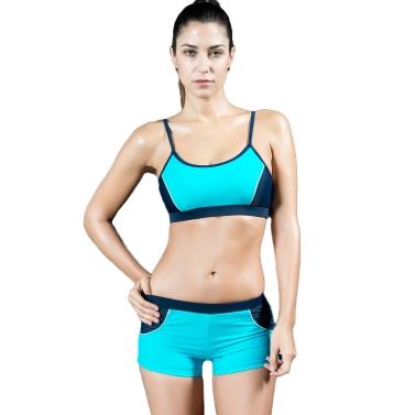 Fashion Women Sports Two Piece Swimsuit Splicing Professional Racing Swimwear Bathing Suit