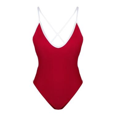 Sexy Women One Piece Deep V Neck Swimwear Bandage Monokini Backless Swimsuit Beach Wear Red/Green