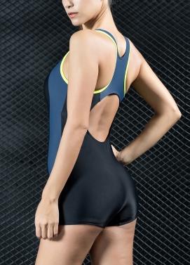 Frauen Sport One Piece Badeanzug Bademode Shorts Backless Badeanzug Schwimmen Anzug Blau / Rot / Grau
