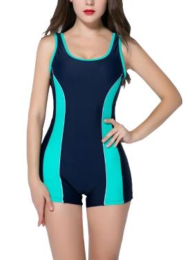 Frauen Sport One Piece Badeanzug Racing Bademode Monokini Badeanzug Beachwear Boxer Bodysuit Schwarz / Dunkelblau / Rot
