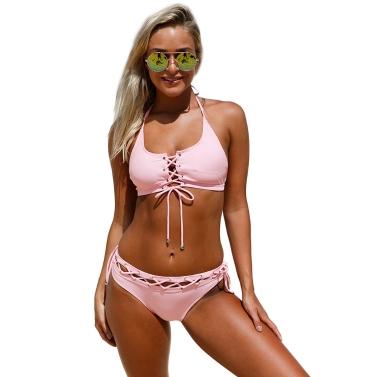Sexy Women Lace Up Halter Bikini Set Padded Bralette Swimwear Biquini Bathing Suits Two Piece Swimsuit Pink