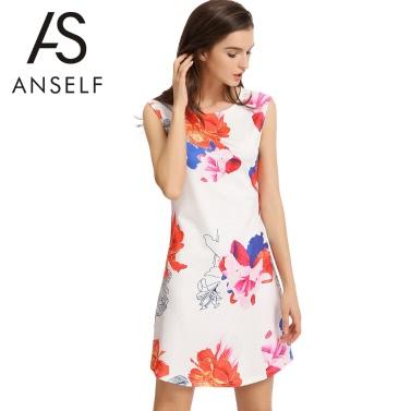 New Fashion Women Mini Dress Contrast Floral Print O-Neck Sleeveless Back Zipper Elegant A-Line Dress White