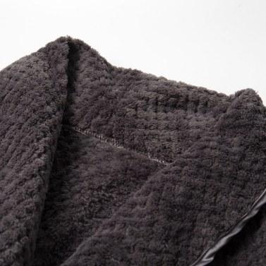 Abody Men Bathrobe Plush Fleece Shawl Collar Long Sleeve Waist Belt Side Pocket Warm Robe Loungewear