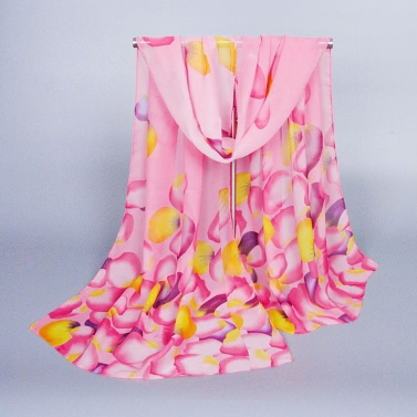 Neue Mode Frauen Chiffon Schal Kontrast bunten Blütenblatt Drucken Longline dünne Pashmina Schal
