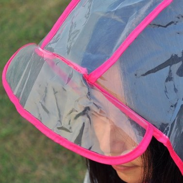 Abody Women Raincoat Hooded Drawstring Buttons See-through EAV Fabric Waterproof Loose Rain Poncho