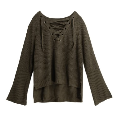 Autumn Winter Women Sweater Flare Sleeve Lace Up V-Neck Pullover Jumper Knitted Top