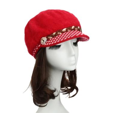 New Fashion Women Hat Faux Rabbit Fur Slouchy Fit Knit Brim Rhinestone Button Decoration Casual Cap