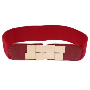 New Fashion Women Belt Sequined Clasp Front Stretch Elastic Cummerbund Wide Belt Waistband Strap