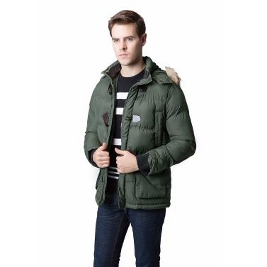 Men Winter Parka Faux Fur Collar Hooded Coat