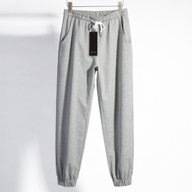 Abody Men Solid Color Pants Elastic Waist Drawstring Casual Sport Trousers