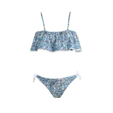Women Bikini Set Swimwear Swimsuit Floral Print Ruffles Slash Neck Padded Two-Piece Bathing Suit Beachwear Blue