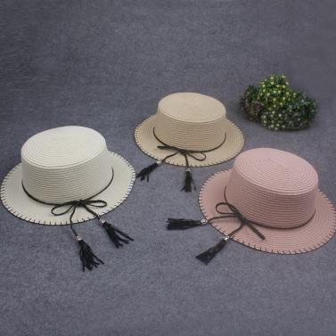 Women Sun Cap Straw Hat Boater Hat Wide Brim Bow Tassel Flat Summer Panama Beach Hat