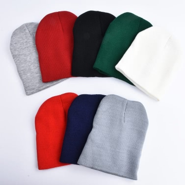 Mode Männer Frauen Plain Beanie Strickmütze Winter Warm Cap Solid Color Unisex Hip-Pop Slouchy Schädel Hut