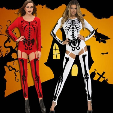 Women Halloween Costume Bodycon Jumpsuit Skull Print Role Play Sexy Adult Playsuit Rompers Red/White