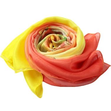 New Women Chiffon Scarf Floral Print Contrast Long Thin Pashmina Silk Shawl Beach Cover Up Yellow/Rose
