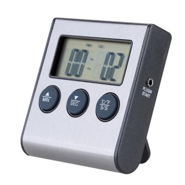 Digital Kochen Thermometer mit Sonde Timer Timing und Alarm Funktion 0-250°C/32-482°F