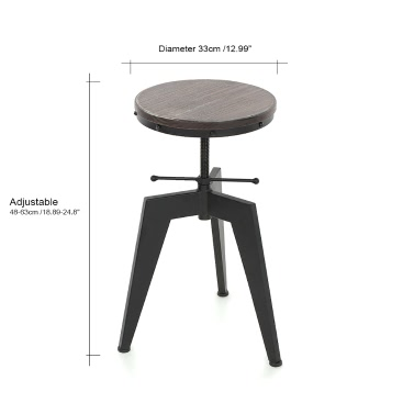 iKayaa Natural Pine Wood Top Swivel Kitchen Dining Sitting Chair Height Adjustable Industrial Style Bar Stool