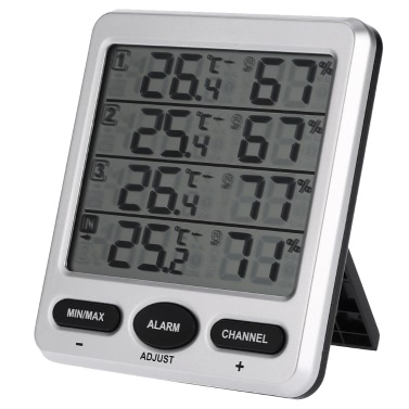 Buy LCD Digital 433MHz Wireless 8-Channel Indoor/Outdoor Thermo-hygrometer Three Remote Sensors Thermometer Hygrometer Comfort Level Alarm Function