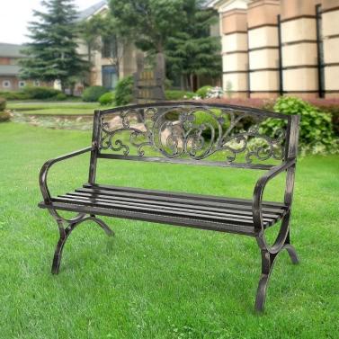 iKayaa 3 Seater Iron Patio Garden Park Bench Chair Metal Porch Yard Seating Outdoor Furniture 220KG Capacity Antique Design