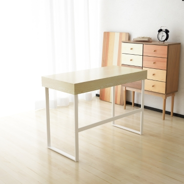 iKayaa Modern Metal Frame Computer Desk Table with Drawer Home Office Study Writing Desk Computer Workstation Furniture 120KG Capacity